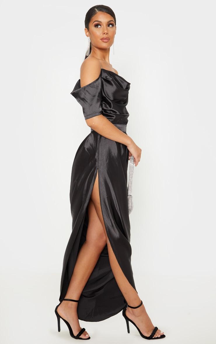 Black Satin Ruched Asymmetric Hem Maxi Dress 4