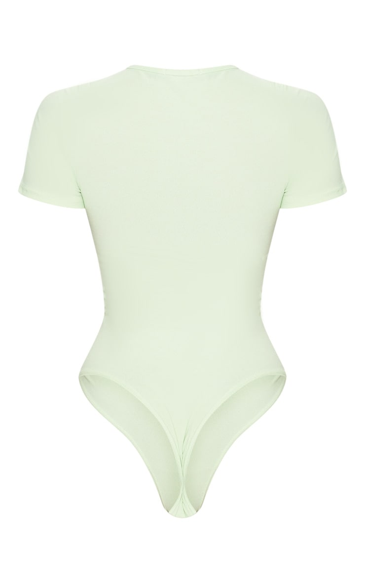 Sage Green Crepe Short Sleeve Thong Bodysuit 4