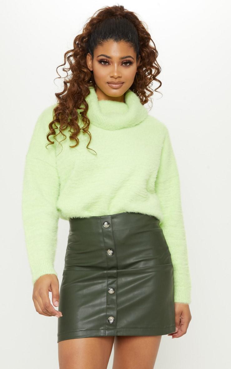 Tall Khaki  Faux Leather Button Detail Bodycon Skirt 1