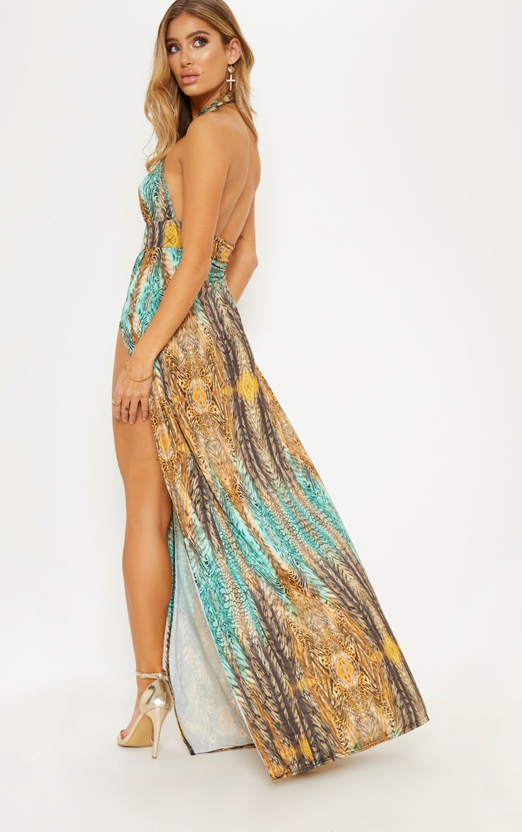 Multi Tiger Print Cross Over Halterneck Maxi Dress 2