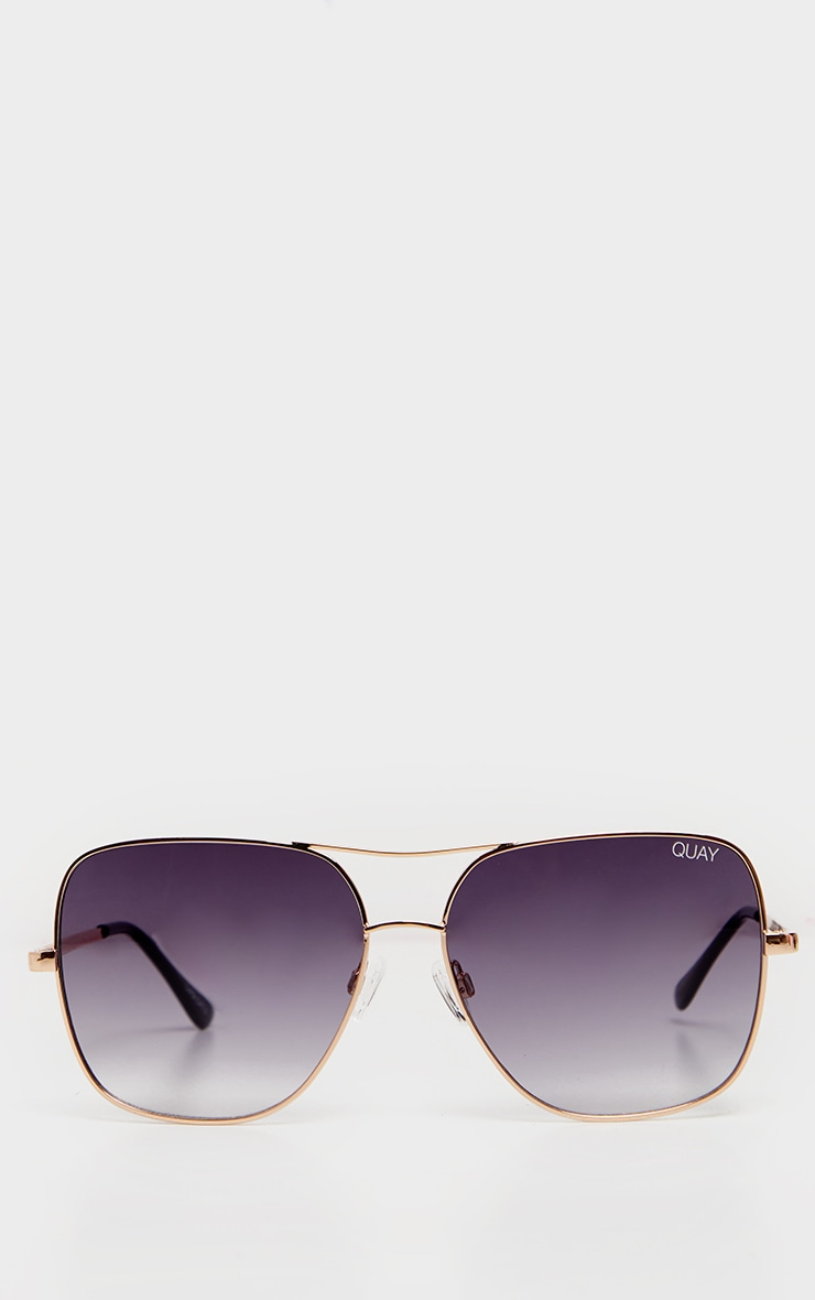Quay X Chrissy Gold Frame Double Bar Stop And Stare Sunglasses 3