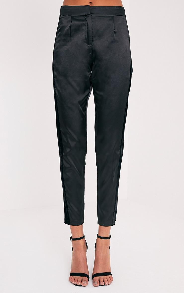 Alaynie Black Velvet Stripe Satin Trousers 2