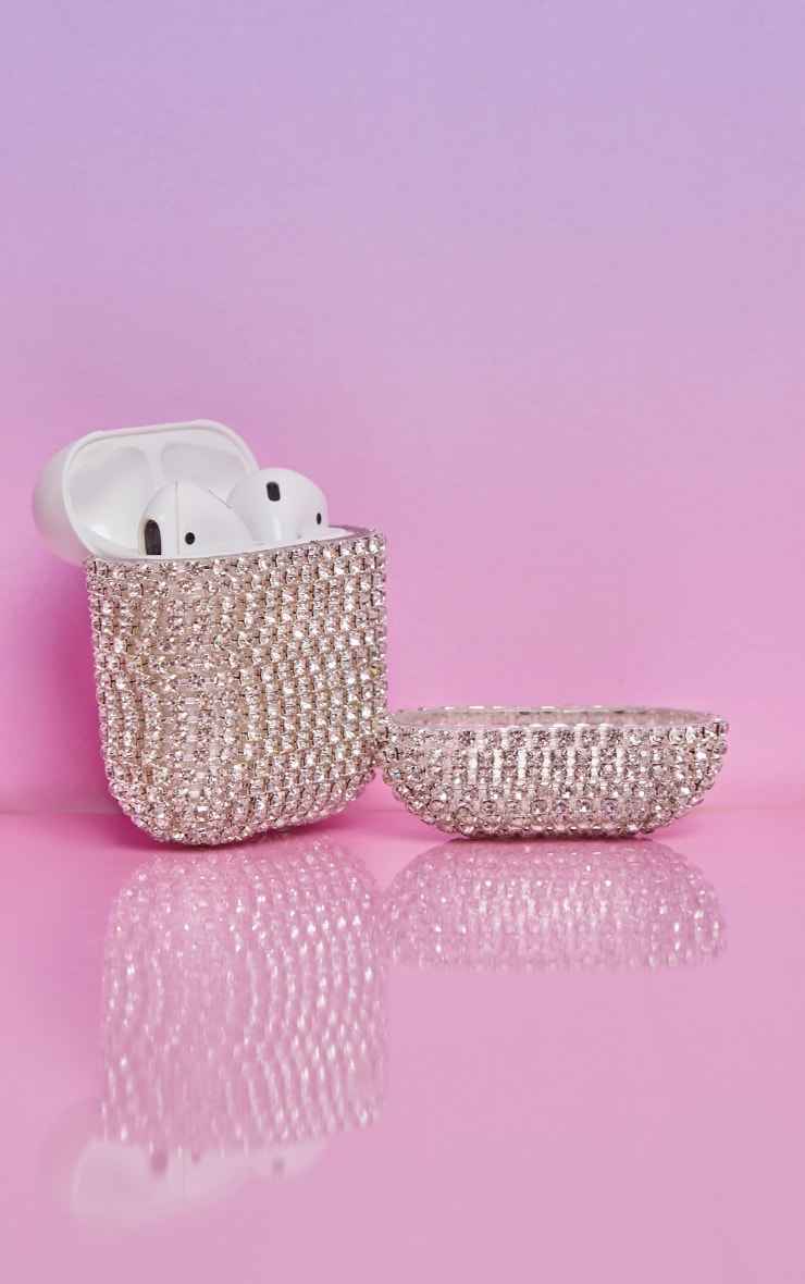 Silver All Over Diamante Airpod Case 2