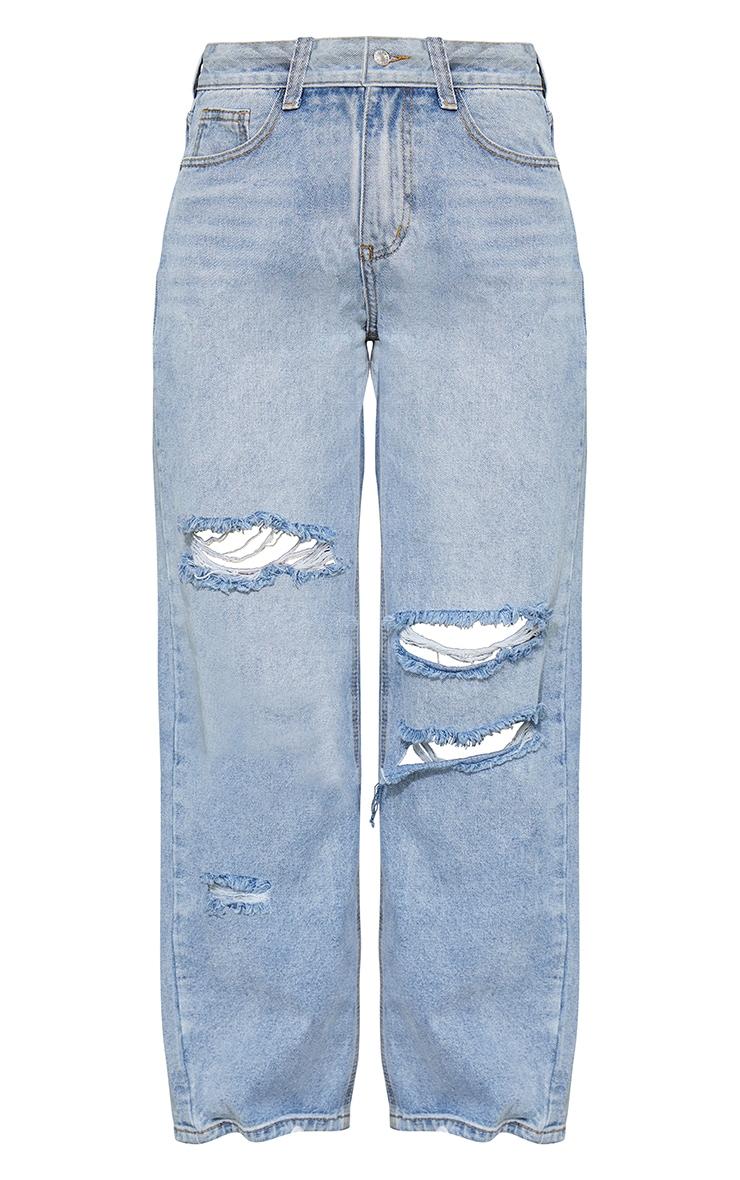 Bleach Wash Baggy Low Rise Ripped Boyfriend Jeans 6
