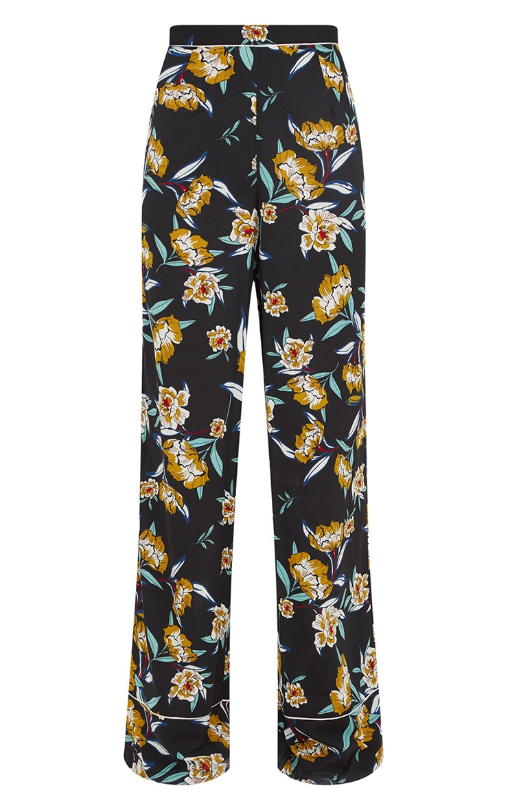 Black Contrast Piping Floral Wide Leg Trousers 3