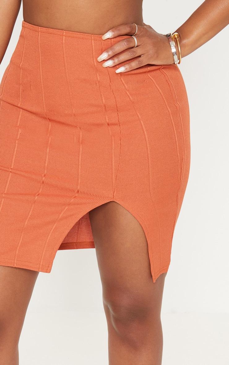 Shape Burnt Orange Bandage Bodycon Skirt 5