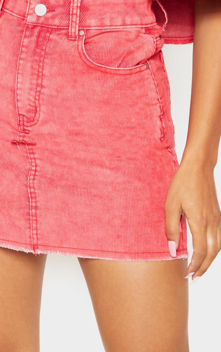 Washed Red Cord Denim Mini Skirt  6