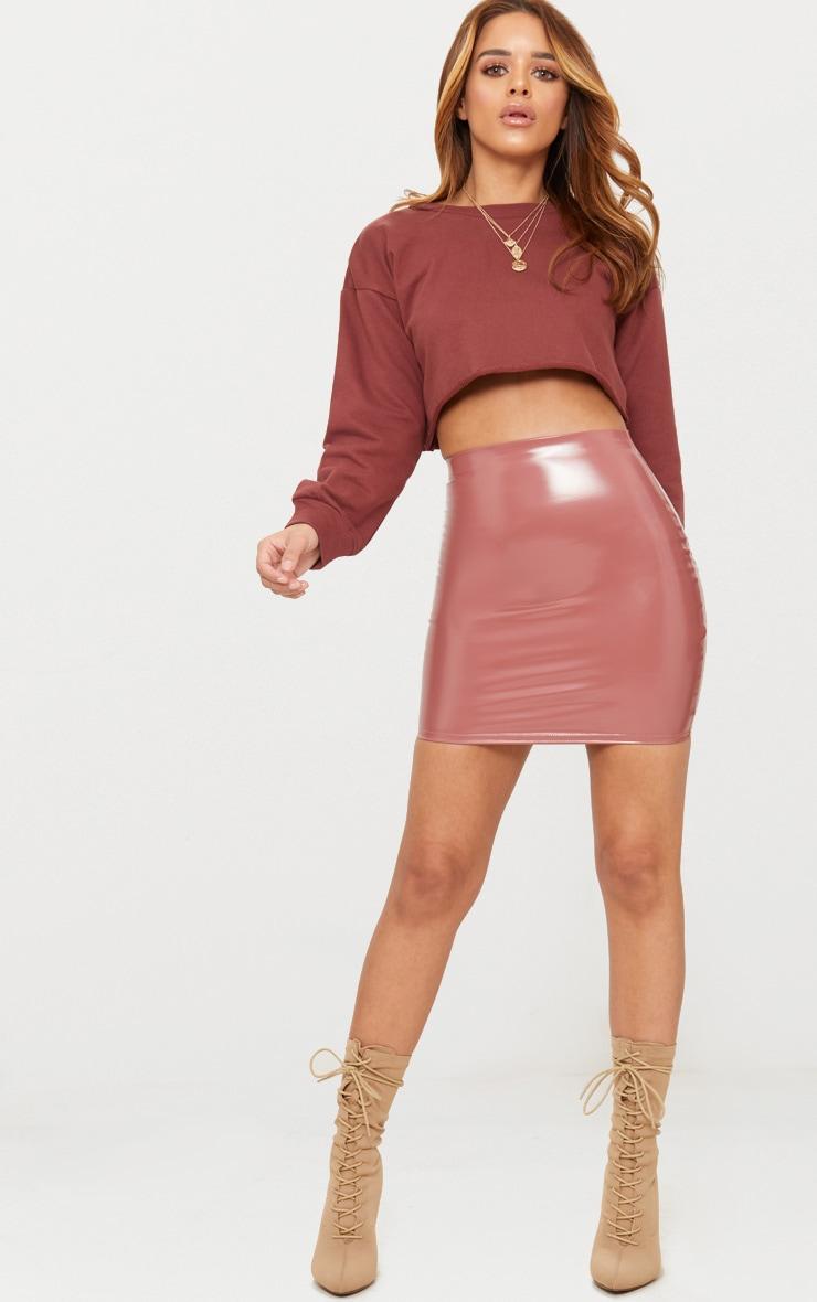 Petite Rose Vinyl Mini Skirt 5
