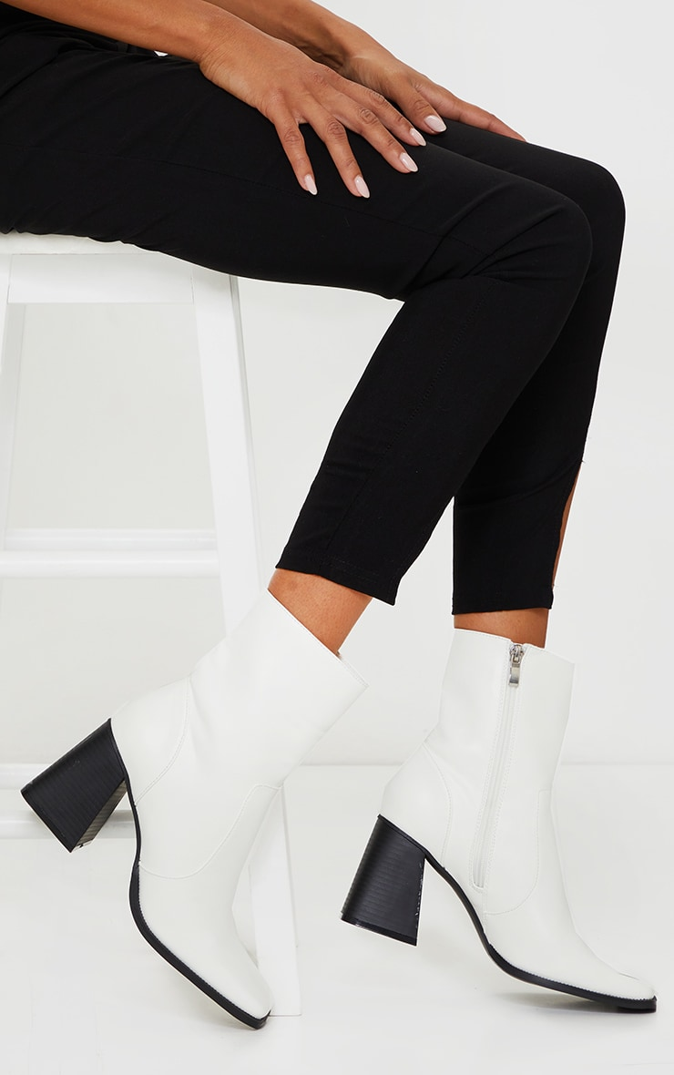 White Square Toe Flare Block Heel Ankle Boot 1