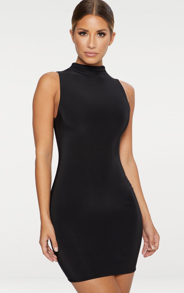Black Second Skin Double Layered Slinky High Neck Sleeveless Bodycon Dress 1