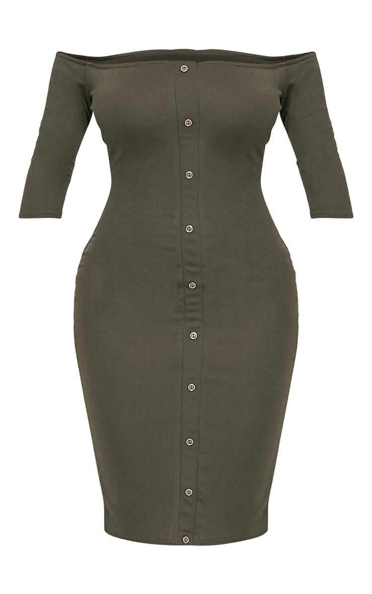 Shape Laurenna Khaki Bardot Button Midi Dress  3