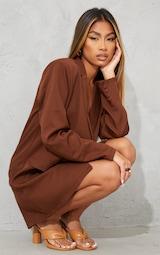 Chocolate Long Sleeve Oversized Shoulder Pad Blazer Dress 4