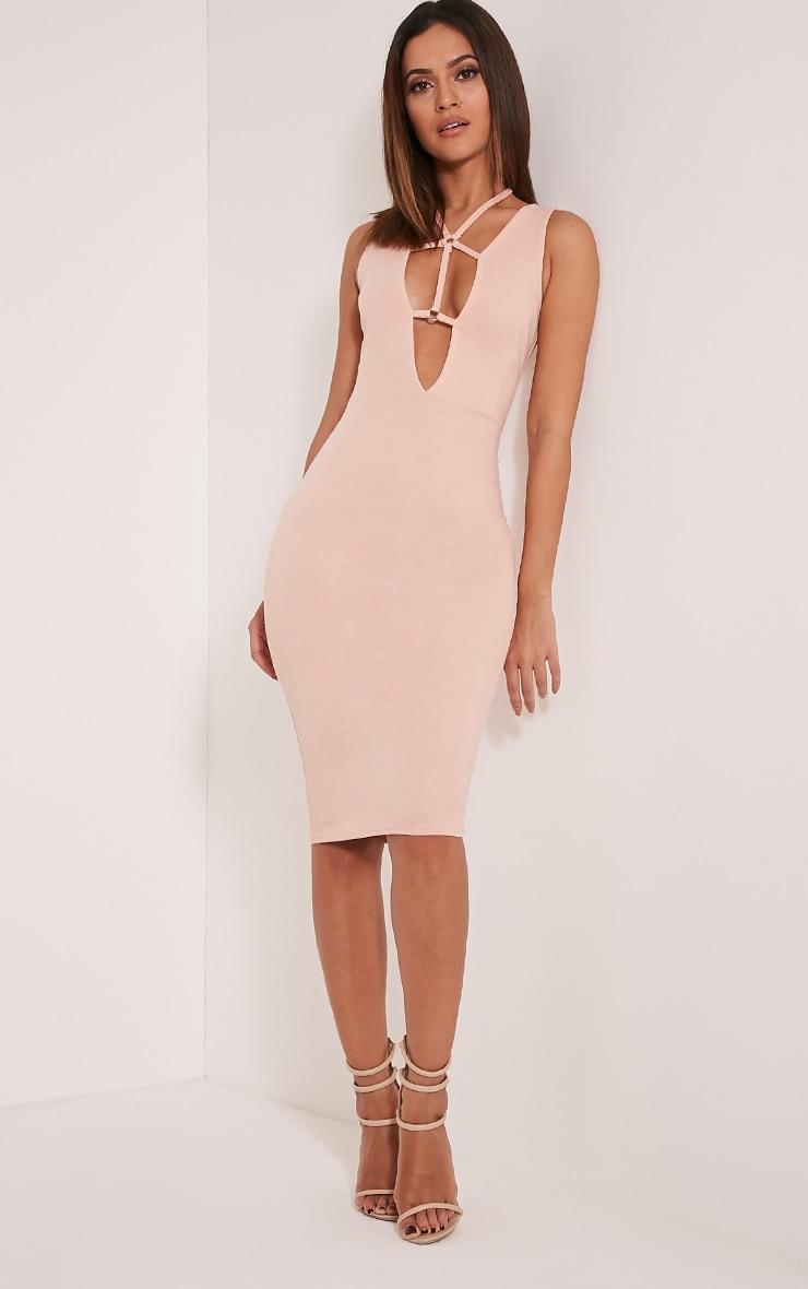 Raynie Nude Sleeveless Harness Midi Dress 5