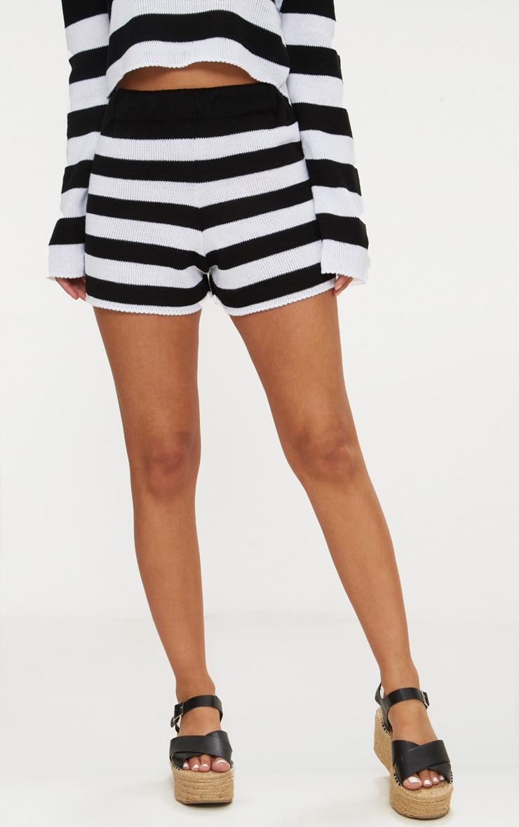 Petite Black Striped Knit Shorts 2