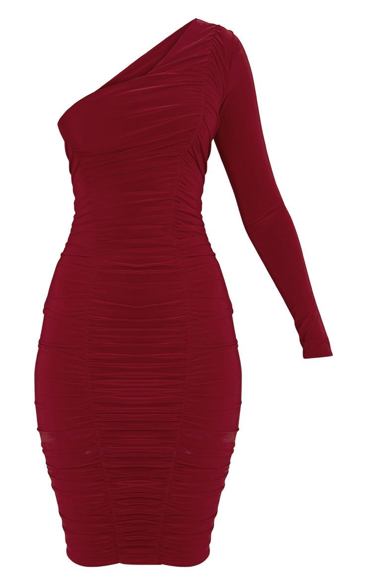 Skylar Red Slinky Ruched One Shoulder Midi Dress 3