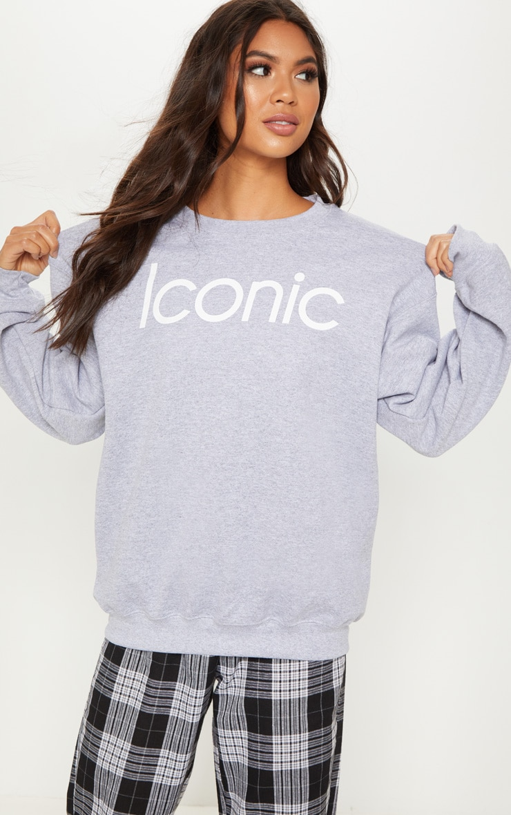 Grey Iconic Long Sleeve Sweater by Prettylittlething