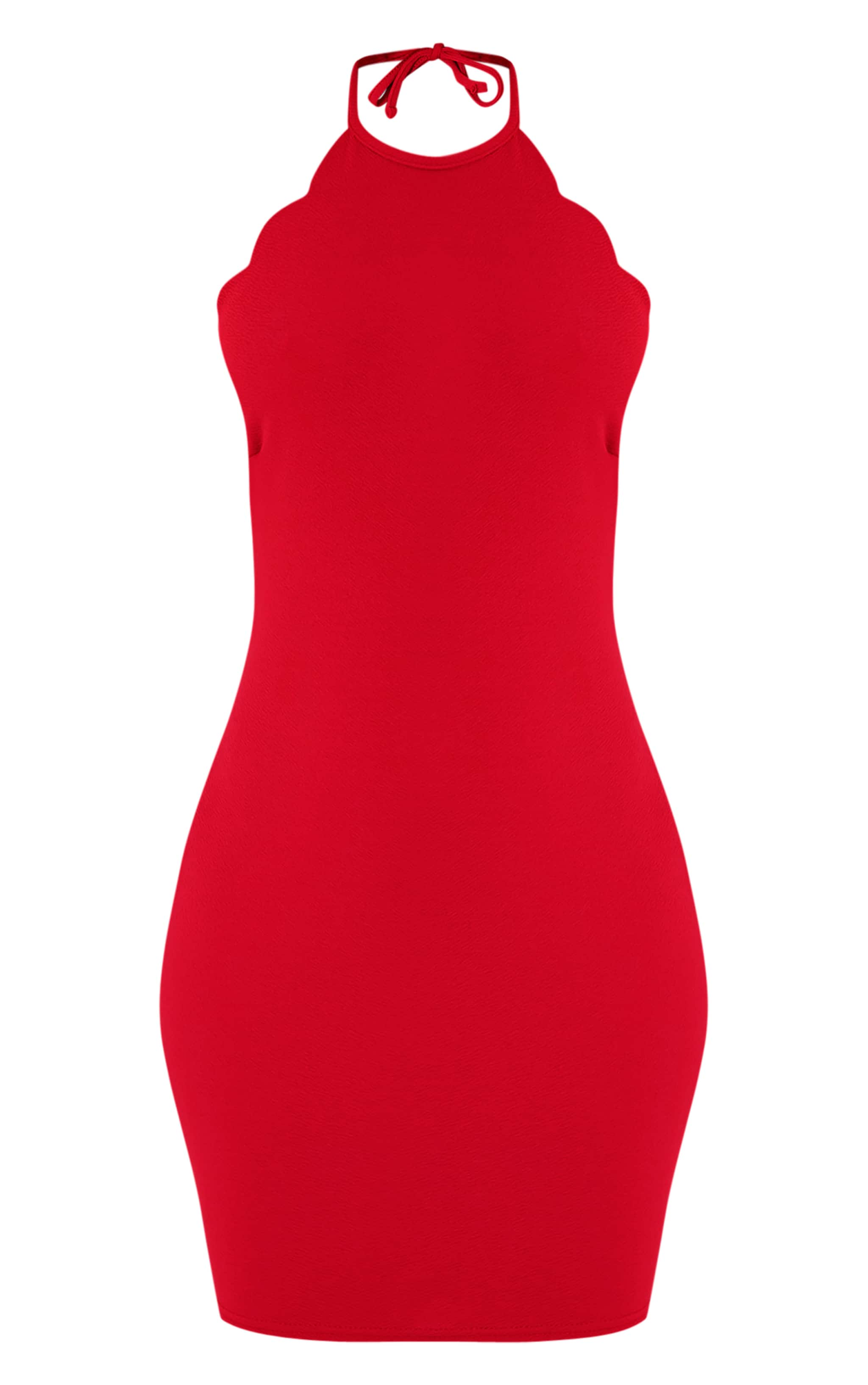 Tabby Red High Neck Scallop Detail Bodycon Dress 3
