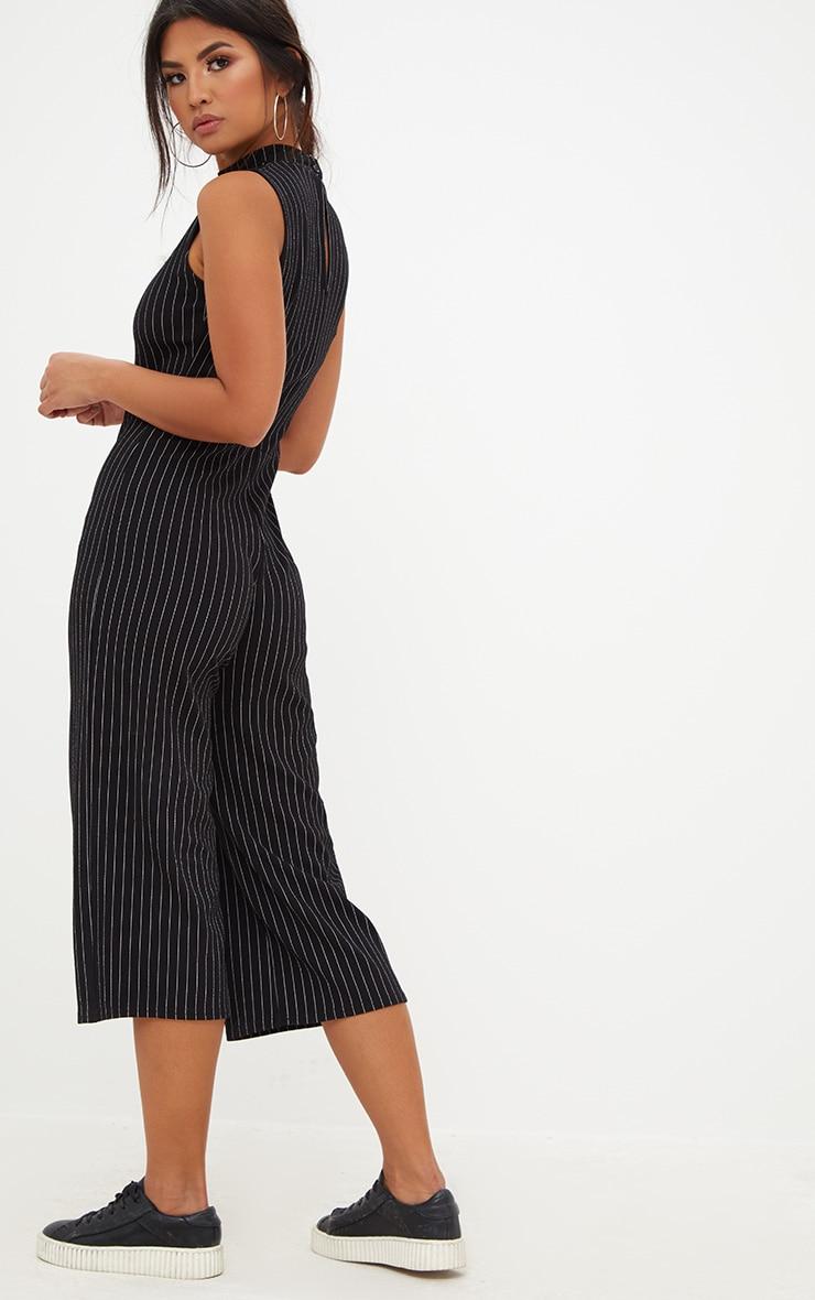 Black Striped High Neck Culotte Jumpsuit 2