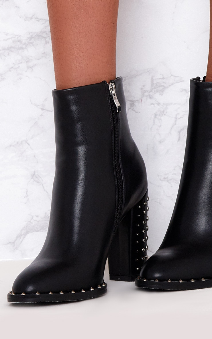 Black Studded Sole Heeled Ankle Boots 5