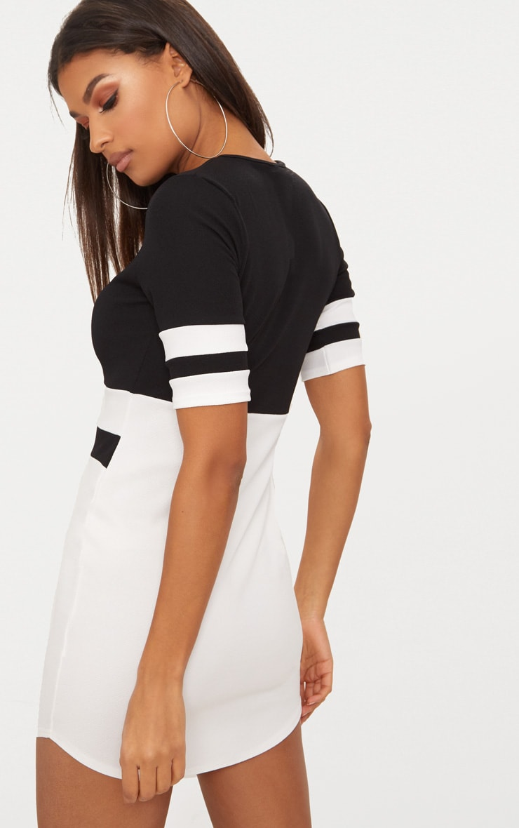 Monochrome Sports Stripe Bodycon Dress 2