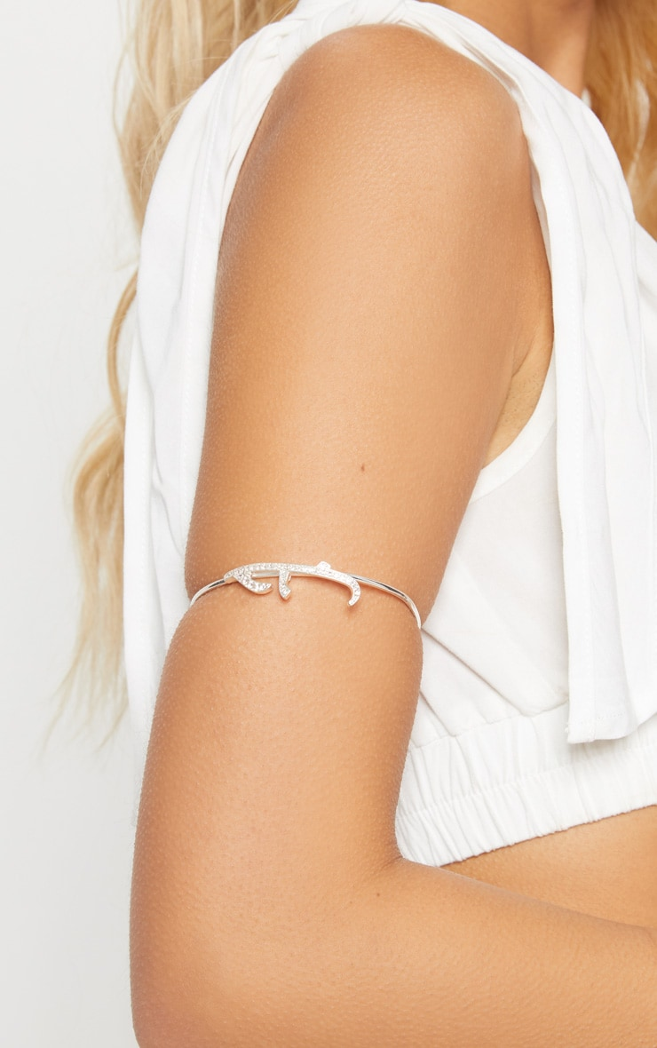 Silver Diamante Arabic Love Arm Cuff 2