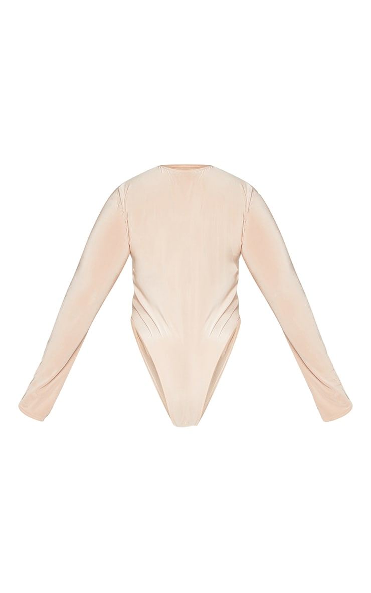Plus Stone Slinky Crew Neck Cut Out Long Sleeve Detail Bodysuit 6