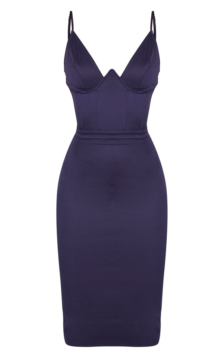 Navy V Bar Binded Midi Dress 3
