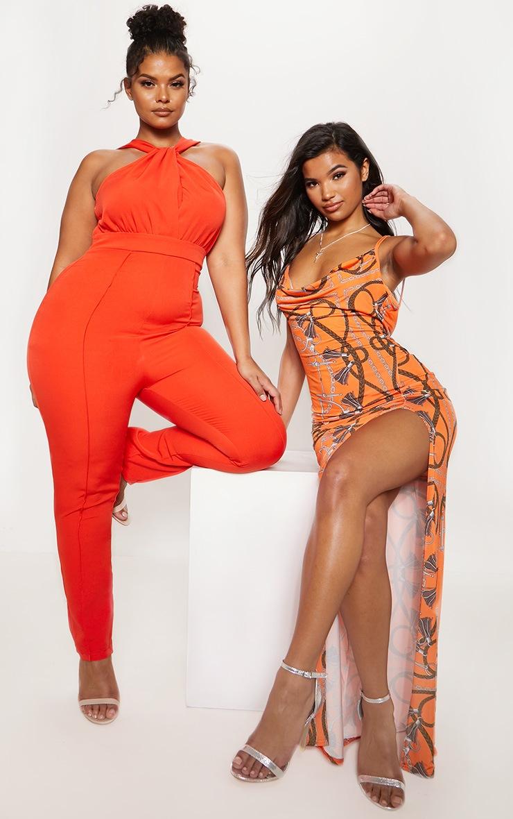 Orange High Neck Jumpsuit 7