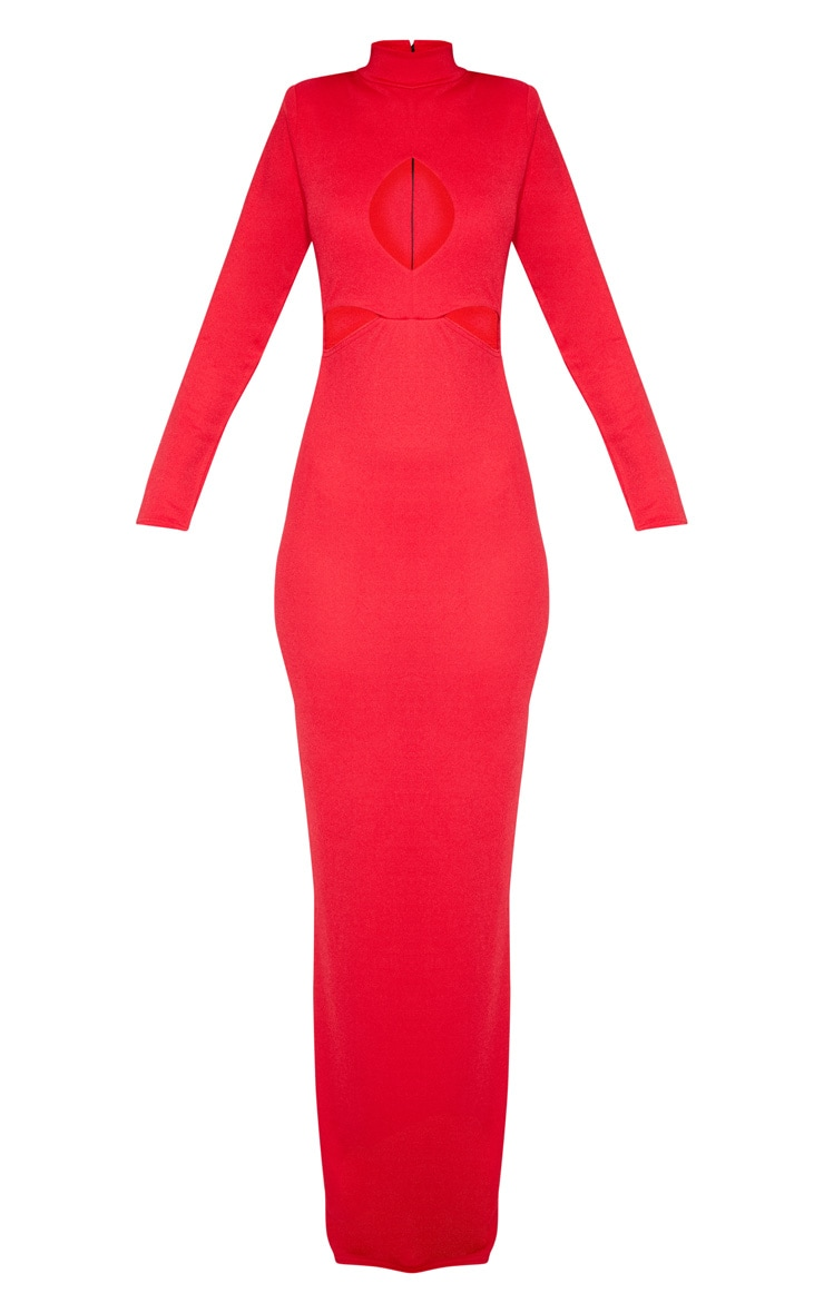 Red High Neck Keyhole Cut Out Maxi Dress 3