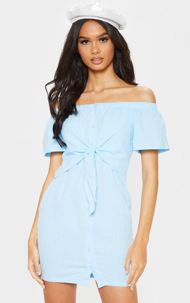 Baby Blue Tie Front Bardot Woven Bodycon Dress 1
