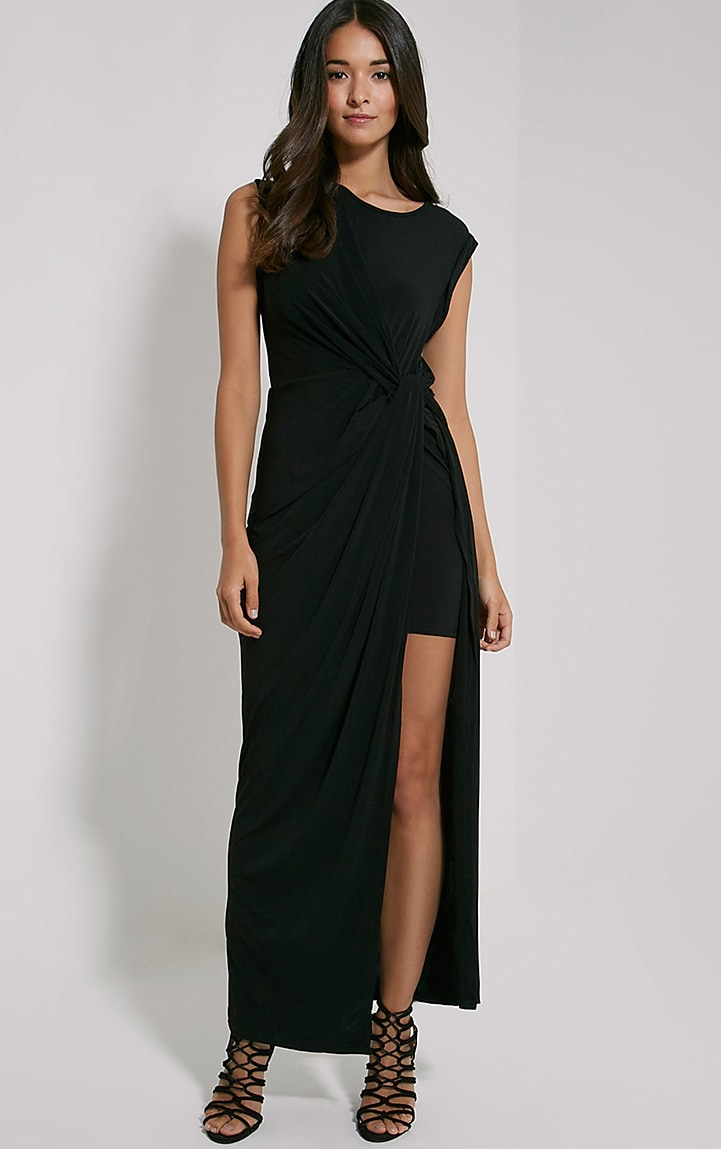 Reeta Black Twist Front Maxi Dress 1