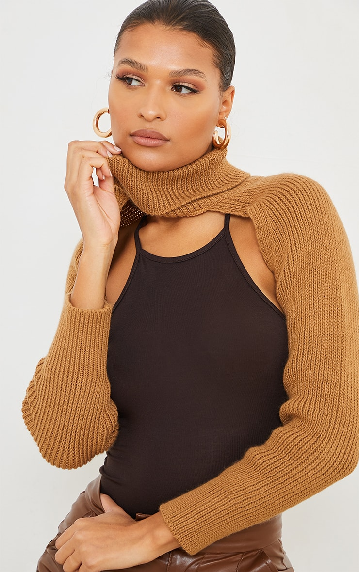 Camel Super Crop Knitted Sleeves 4
