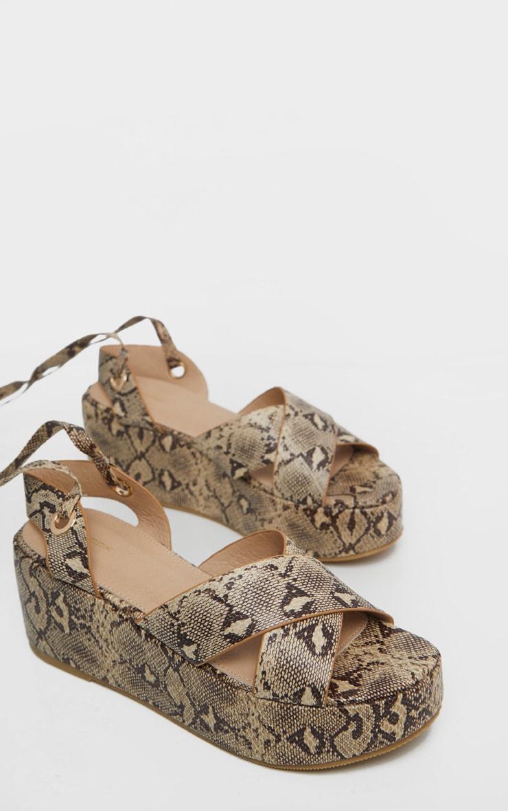 Snake Flatform Lace Up Sandal 3