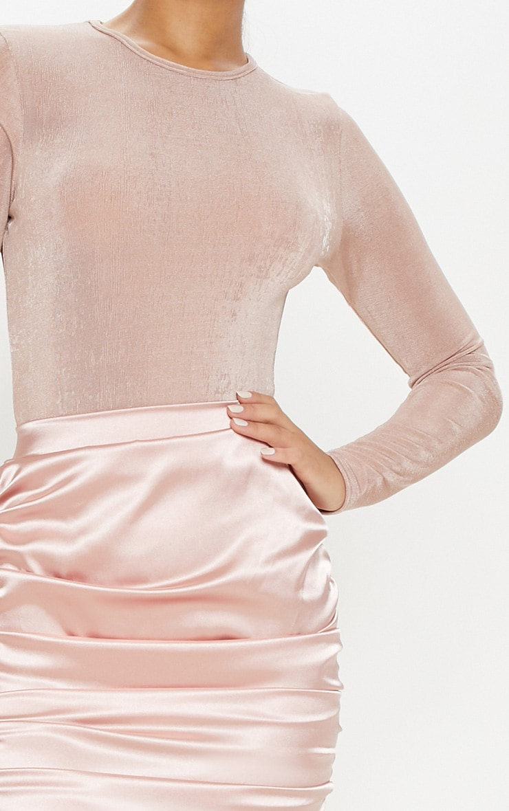 Light Pink Glitter Slinky Long Sleeve Crew Neck Bodysuit 6