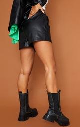 Black Faux Leather Runner Pocket Front  Shorts 3
