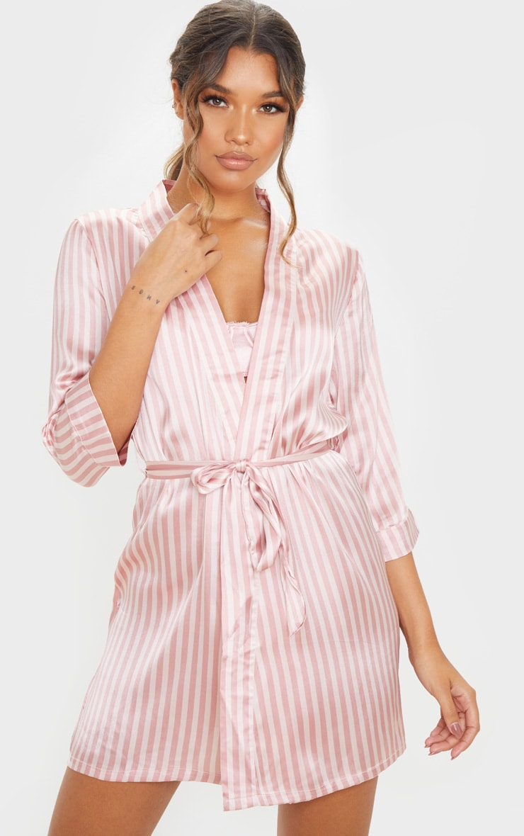 Baby Pink Stripe Satin Robe 1