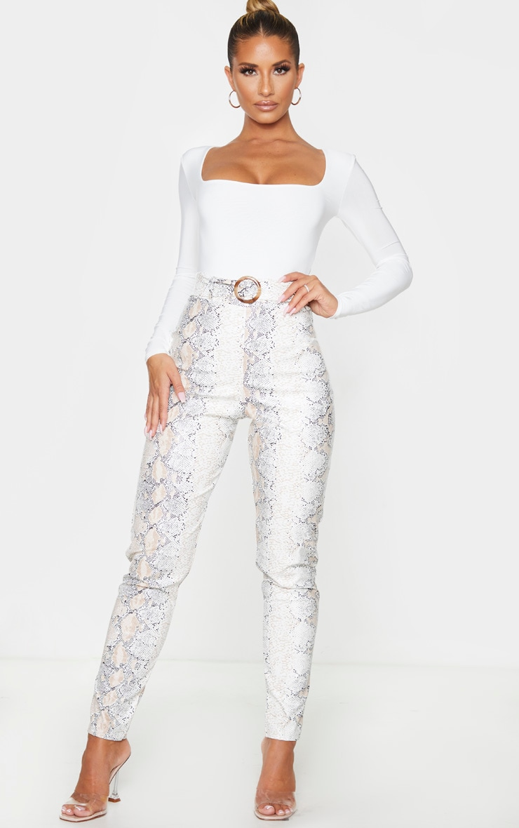 White Snake Faux Leather Belt Detail Pants 1