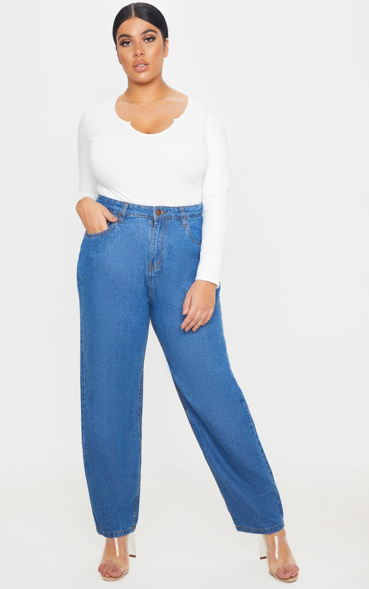 Plus Mid Wash Slim Mom Jean 1