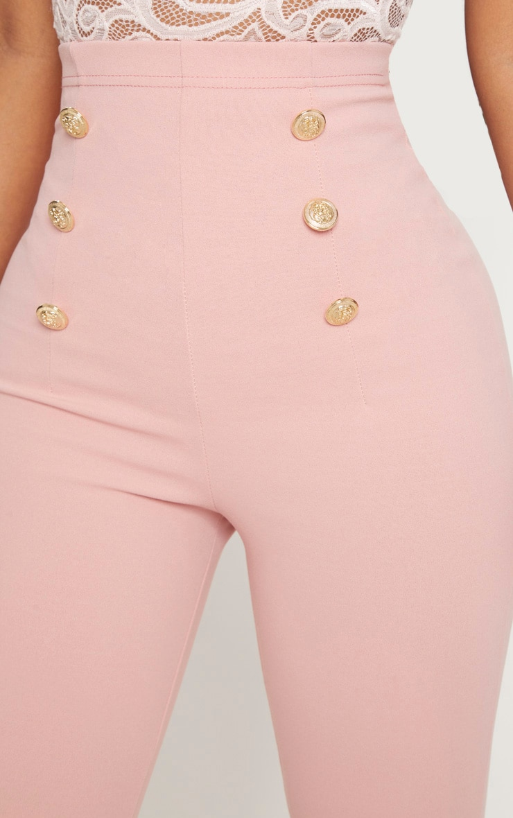 Shape Dusty Pink Military Button Skinny Trousers 5