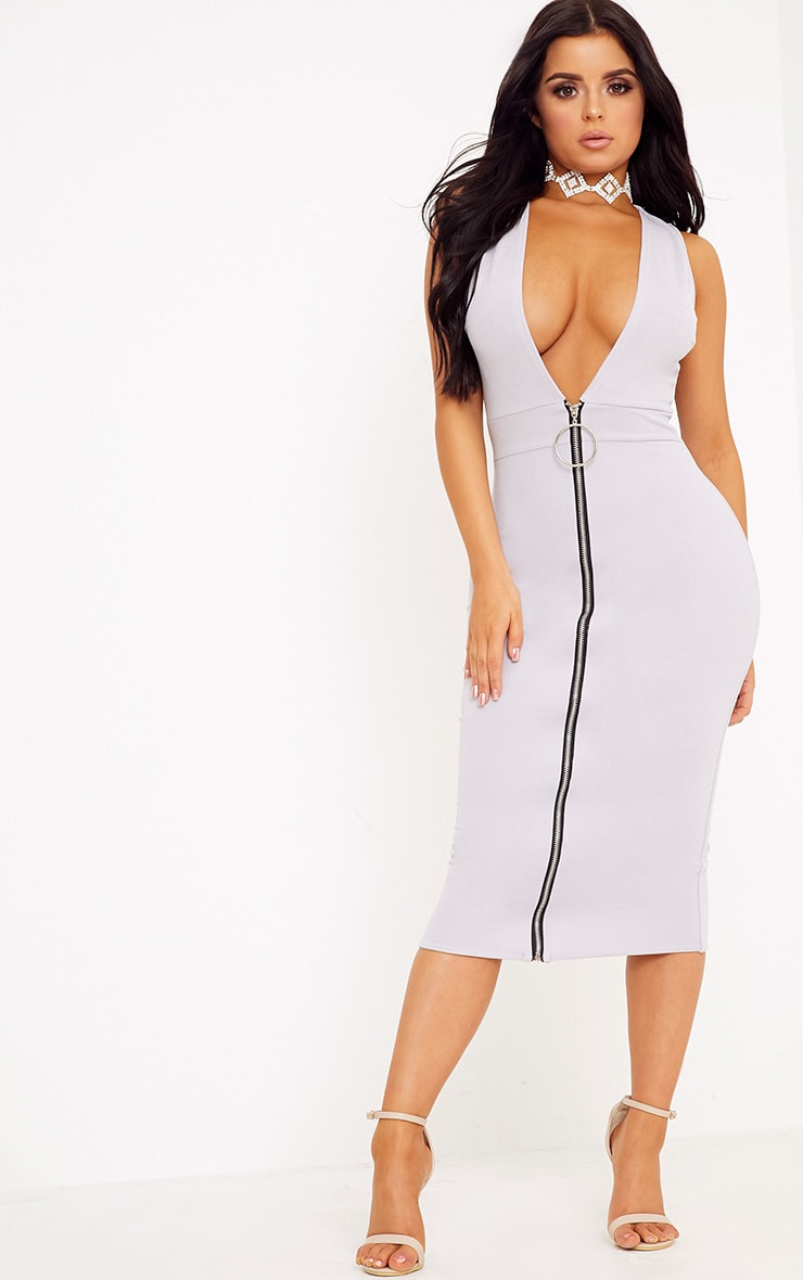 Shape O-Ring Zip Skirt Midi Dress 4