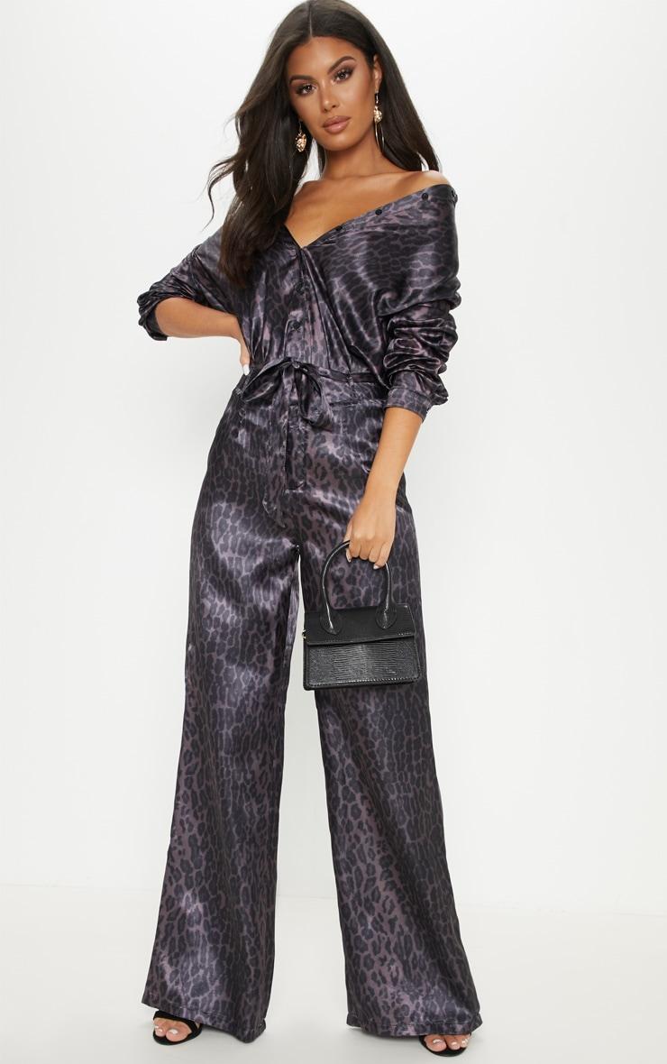 Purple Leopard Print Belted Waist Printed Wide Leg Trouser 1