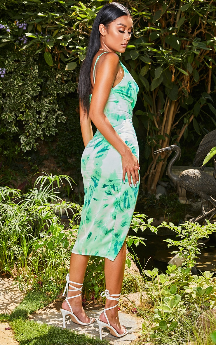 Green Tie Dye Strappy Cowl Neck Midi Dress 2