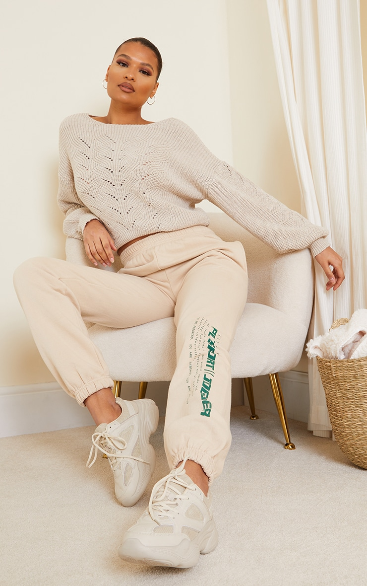 Oatmeal Pointelle Crew Neck Knitted Jumper 3