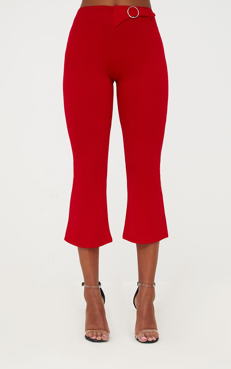 Red Ring Belt Detail Kick Flare Trousers 2