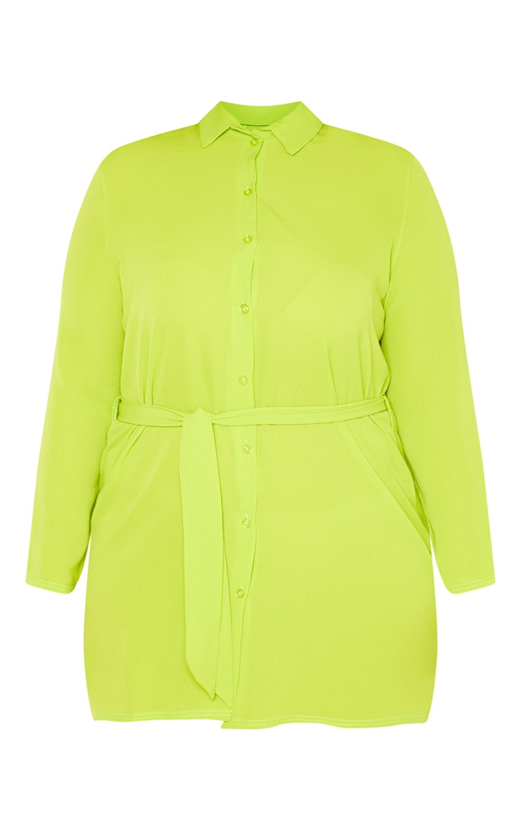 Plus Neon Lime Tie Waist Shirt Dress 3