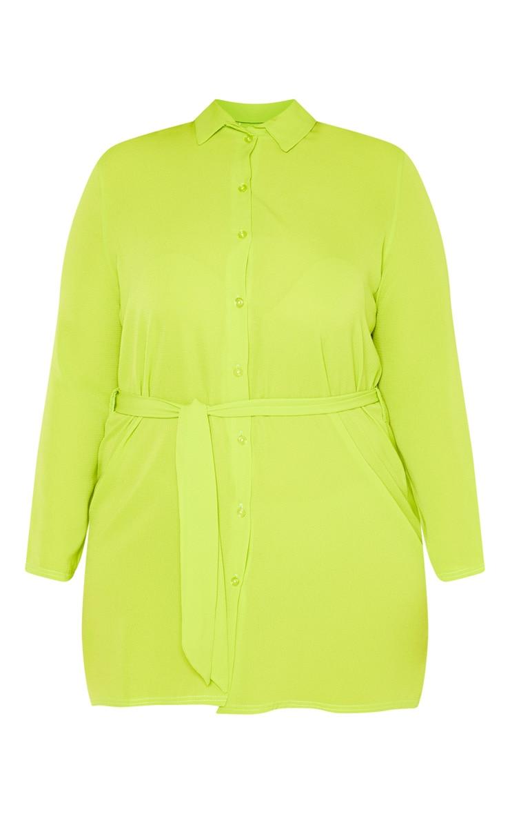PLT Plus - Robe chemise vert citron à lien sur la taille 3