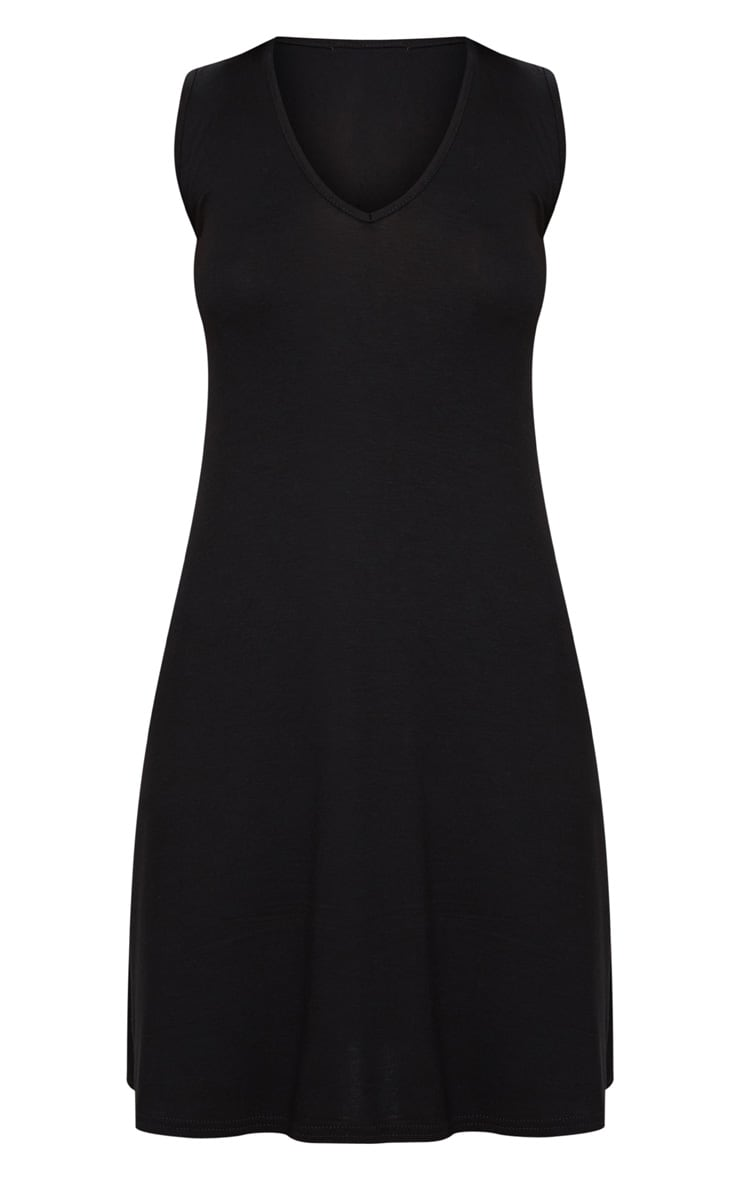 Black Jersey V Plunge Sleeveless Shift Dress  3