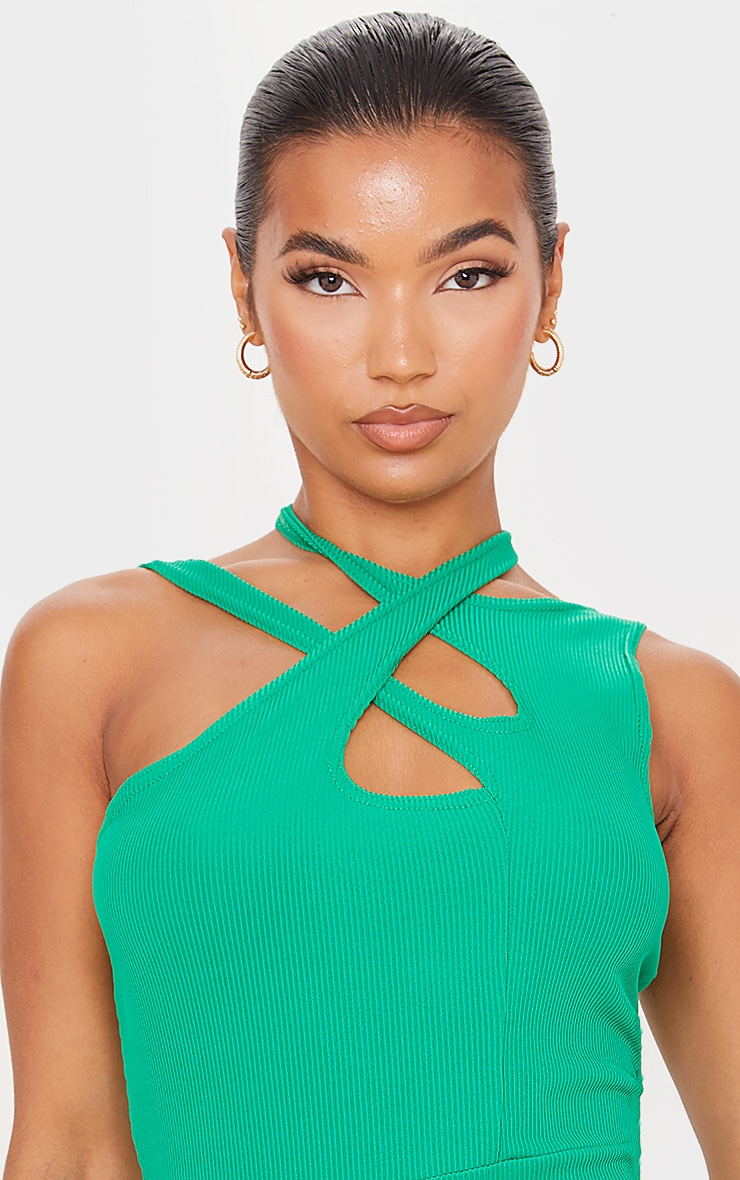 Green  Ribbed Crossed Strap Detail Bodycon Dress 4