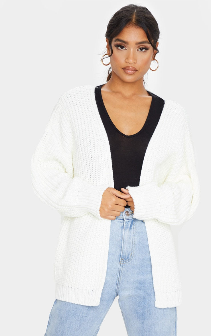 Cream Chunky Knit Slouchy Cardigan 1