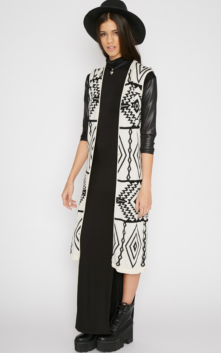 Biana White Sleeveless Aztec Cardigan  1